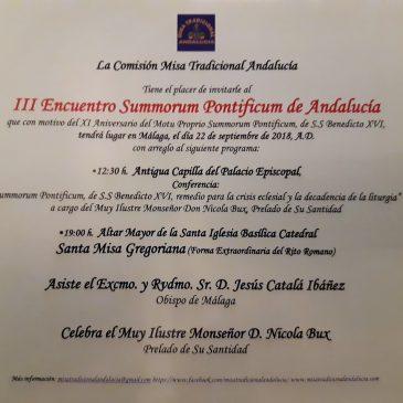 INVITACIÓN III ENCUENTRO SUMMORUM PONTIFICUM ANDALUCÍA (MÁLAGA)