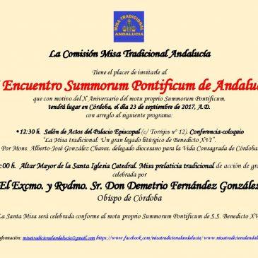 INVITACIÓN SÁBADO 23 SEP. II ENCUENTRO SUMMORUM PONTIFICUM ANDALUCÍA (CÓRDOBA)